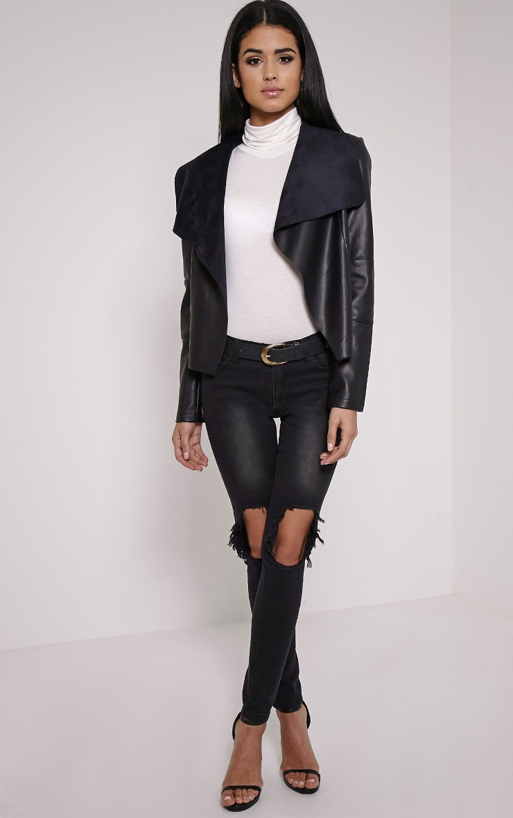 Mischa Black Faux Leather Waterfall Jacket 3