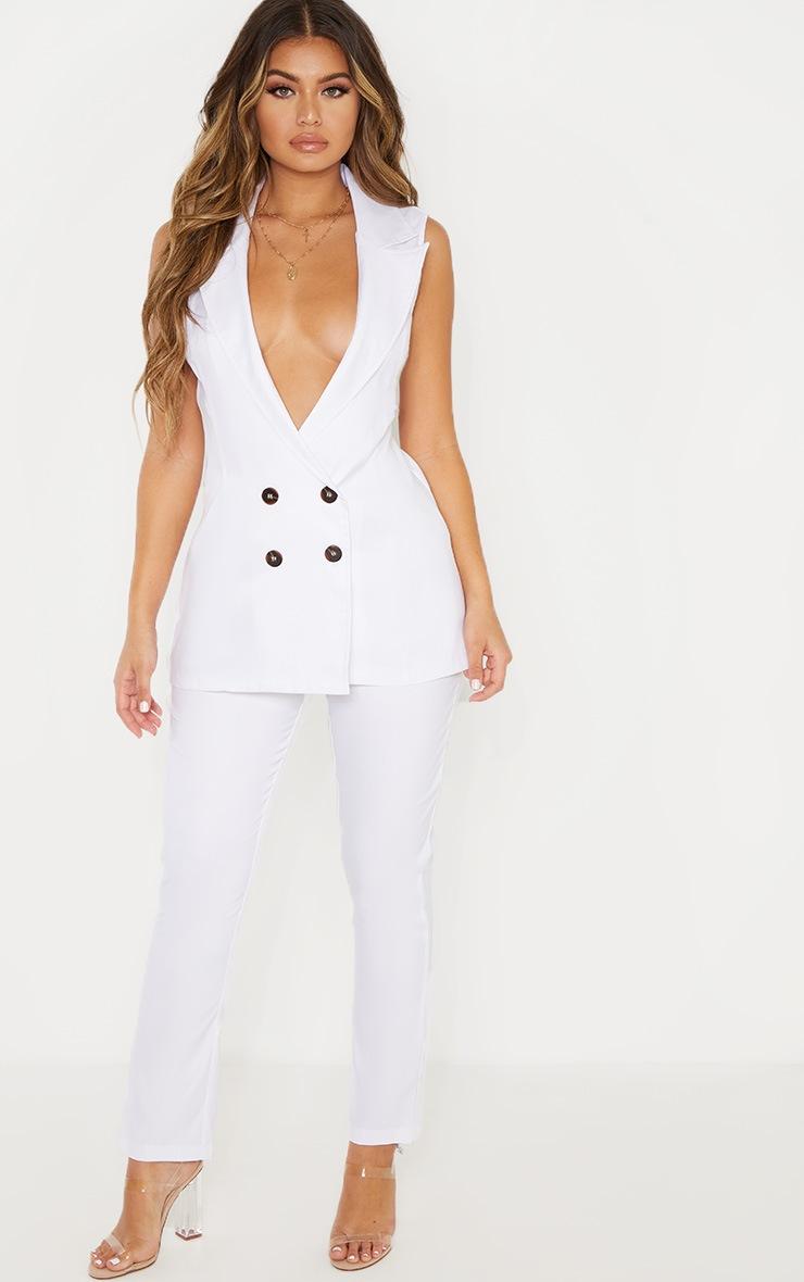 White Button Detail Longline Waistcoat 4