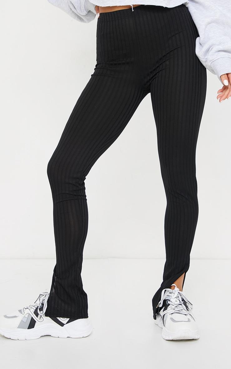 Petite Black Wide Rib Split Hem Leggings 2