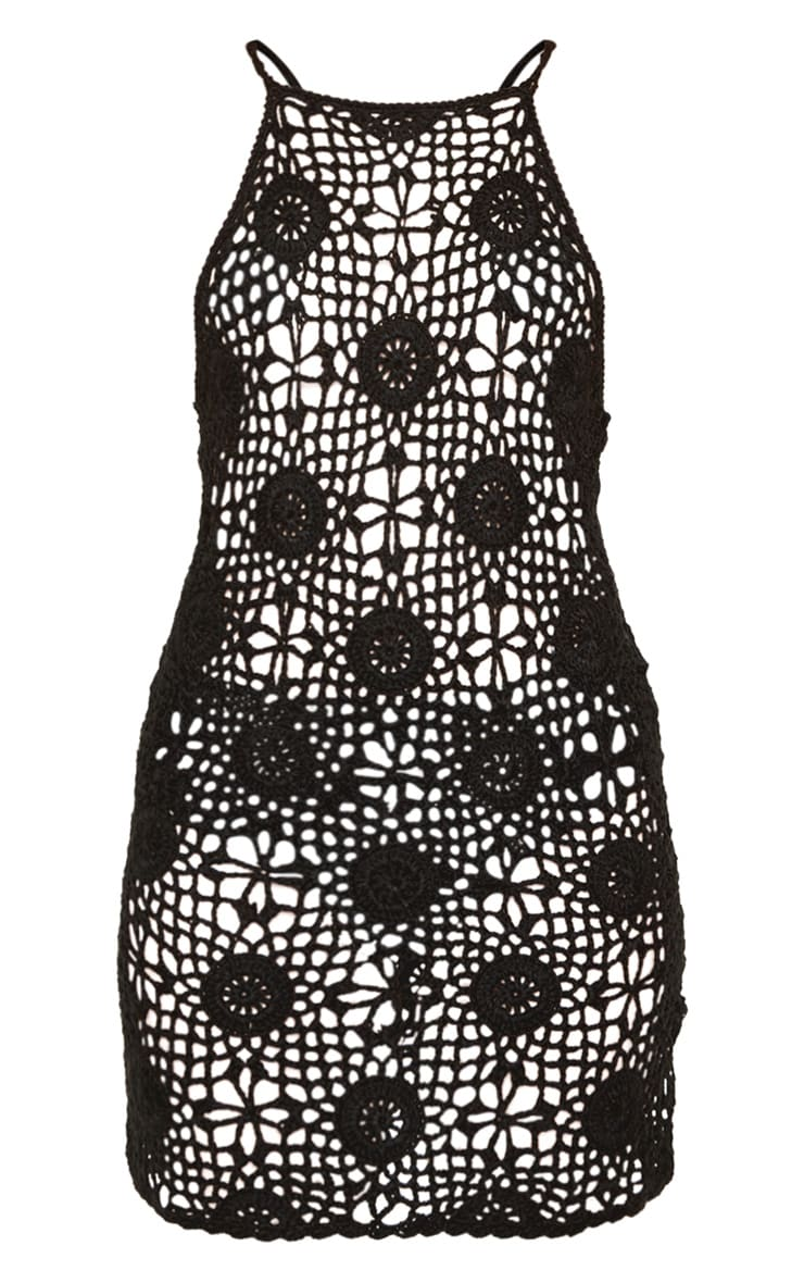 Black Crochet Knitted Strappy Dress 3
