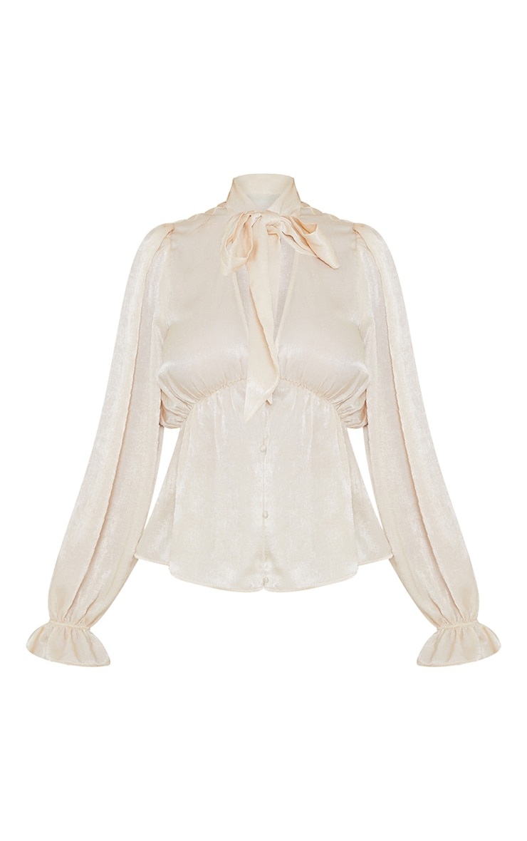 Champagne Satin Pussybow Long Sleeve Blouse 5
