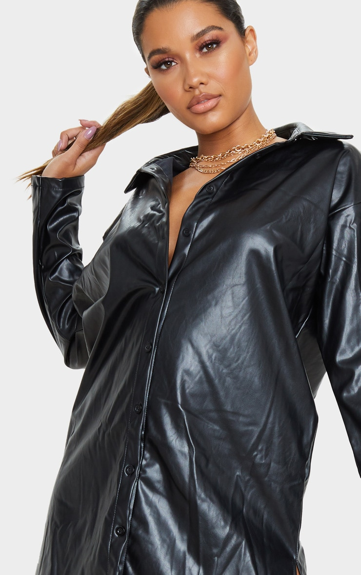Black Faux Leather Oversized Shirt Dress 5