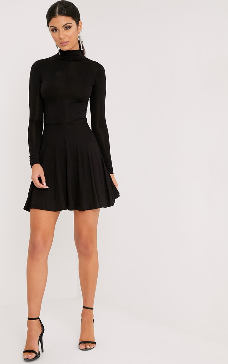 Black High Neck Jersey Skater Dress 4
