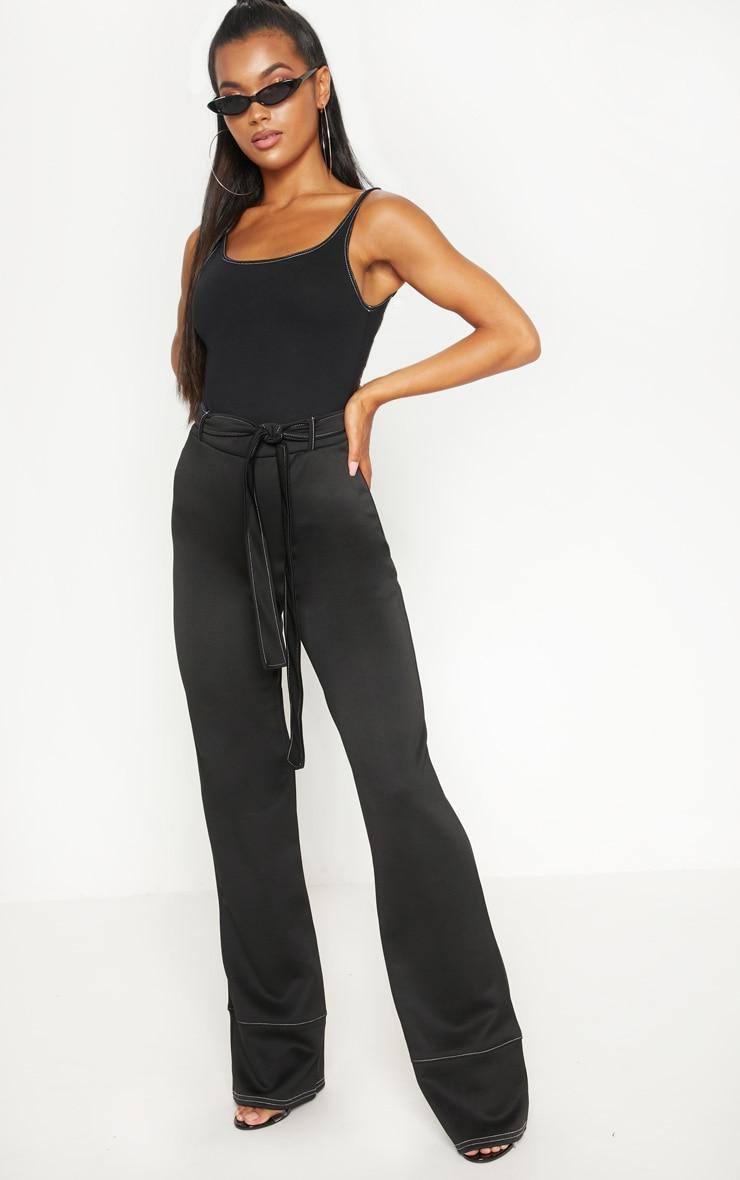 Black Contrast Stitch Scoop Neck Bodysuit 5