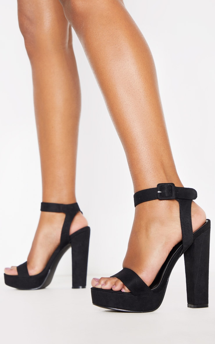 Black Faux Suede High Platform Sandal 1