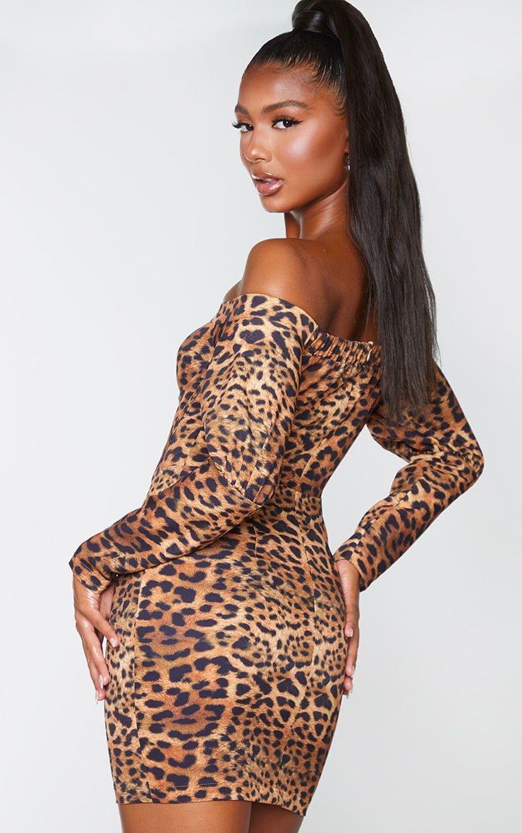 Brown Leopard Print Bardot Underwire Corset Detail Bodycon Dress 2