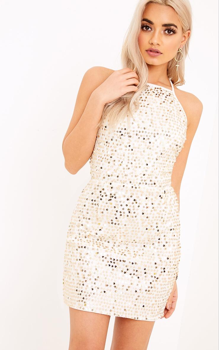 Kerstin Gold Halterneck Sequin Shift Dress 1