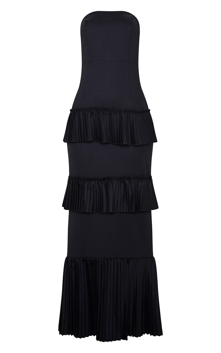Black Pleated Tiered Bandeau Maxi Dress 3