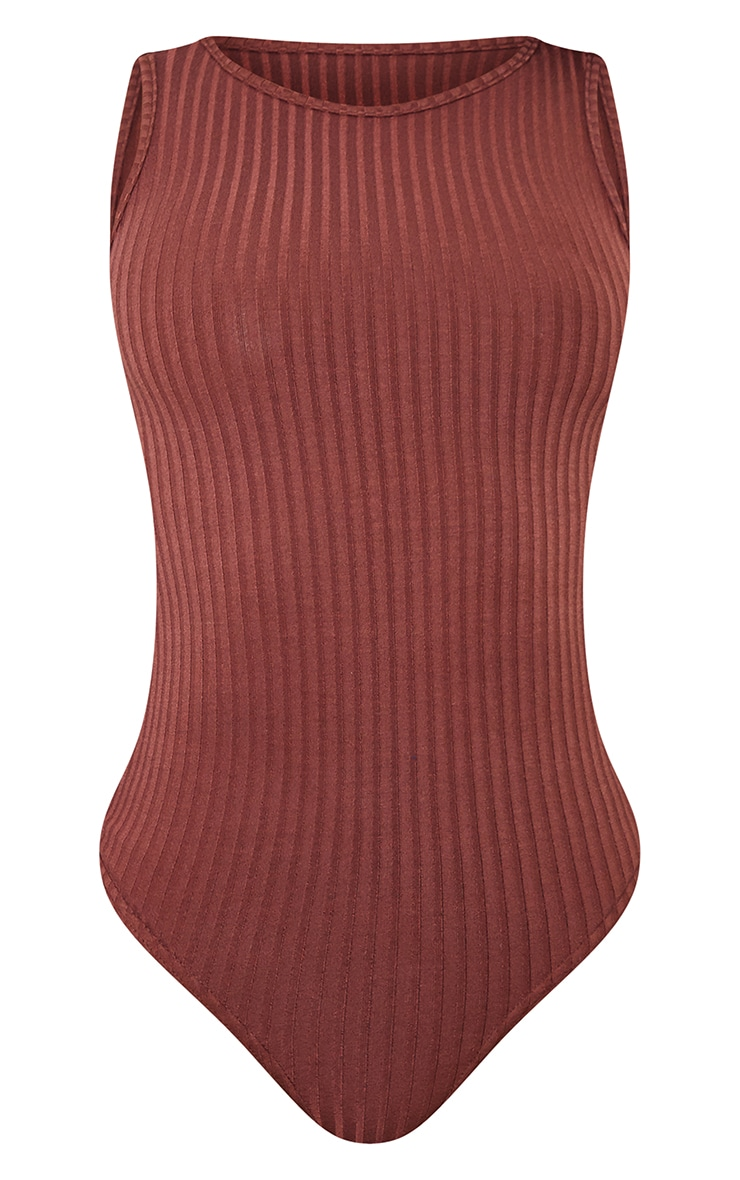 Tall Chocolate Wide Rib Sleeveless Bodysuit 5