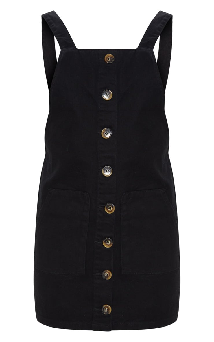Button Through Black Denim Dress 3