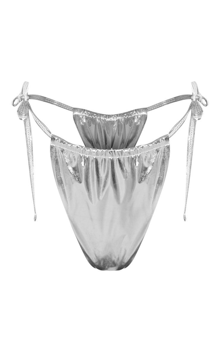 Silver Vinyl Adjustable Tie Side Bikini Bottom 3