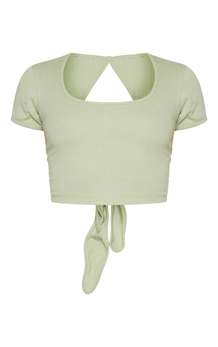 Olive Open Back Rib Crop Top 5