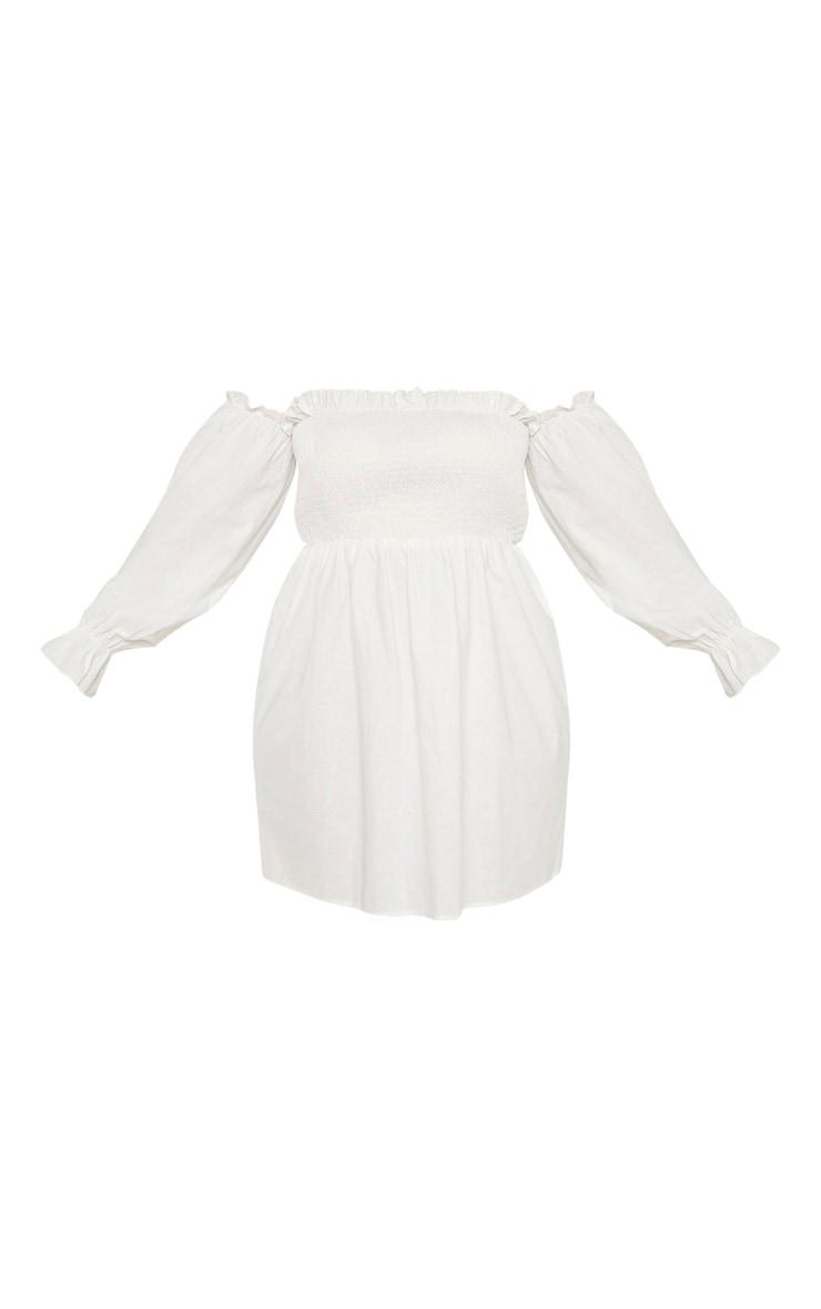 Plus White Shirred Bardot Long Sleeve Dress 5