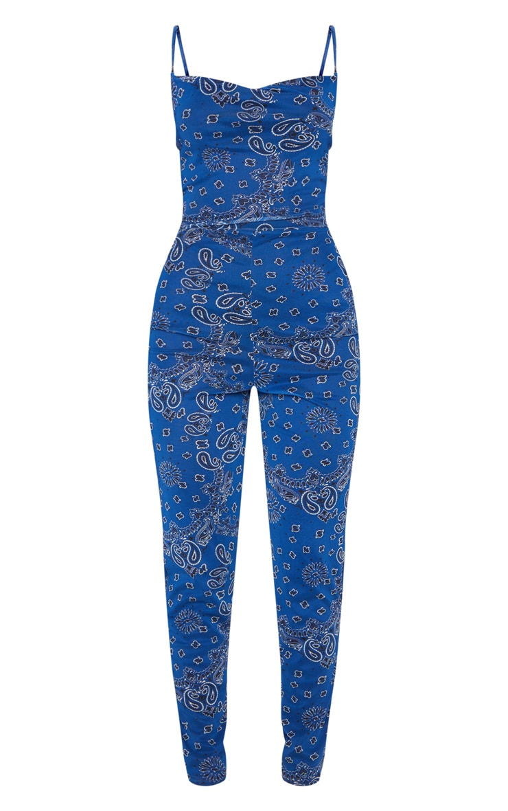Blue Bandana Print Cowl Neck Mesh Jumpsuit 5