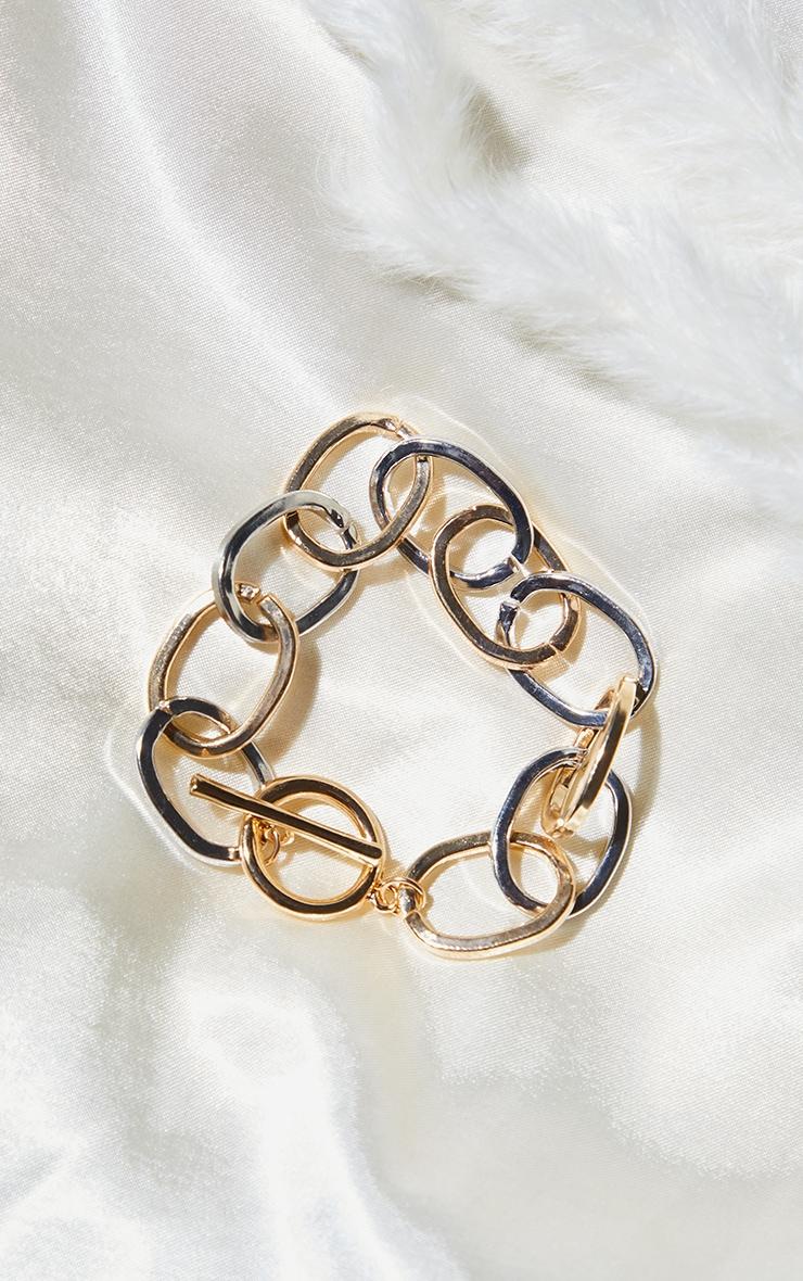 Bracelet doré et argenté à barre en T 1