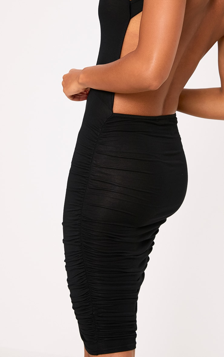 Black Open Back Ruched Midi Dress 4