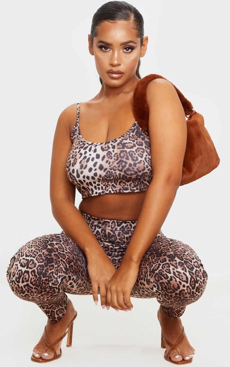 Brown Leopard Print Slinky Strappy Crop Top 3