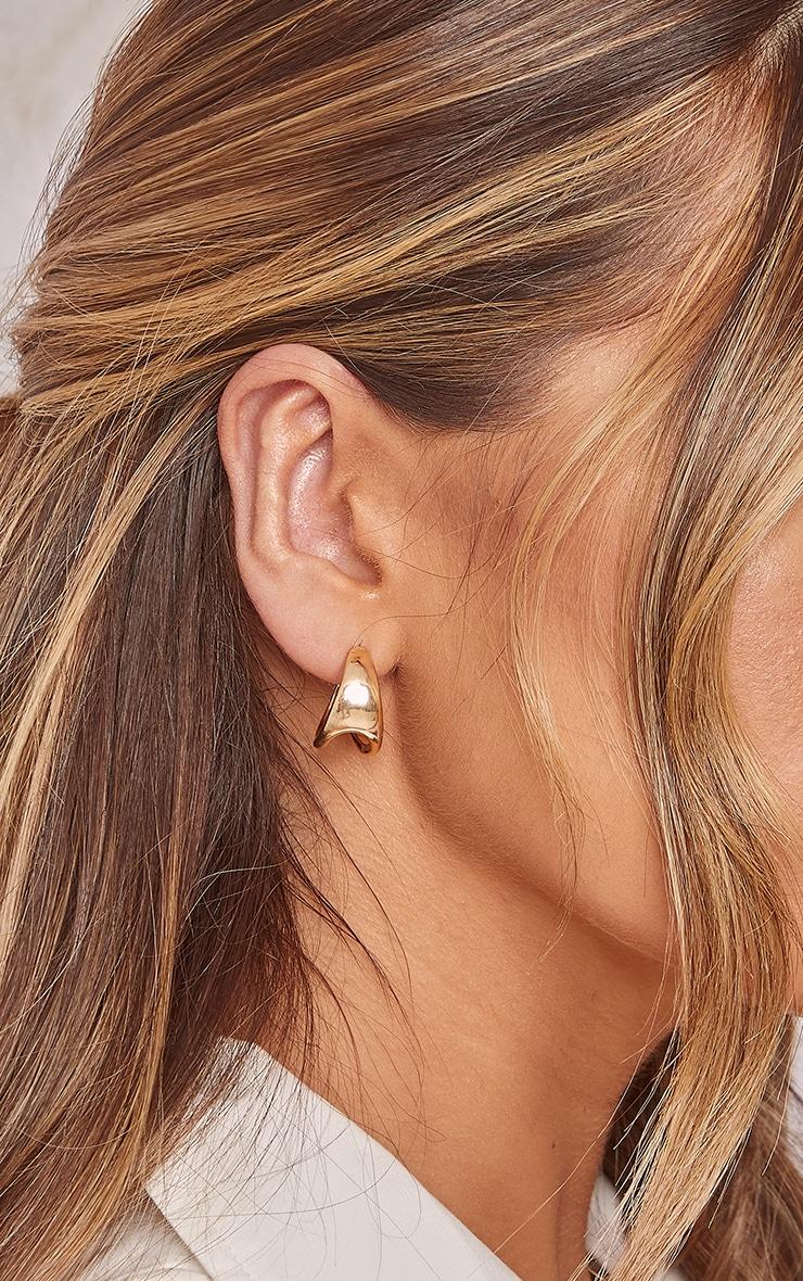 Gold Cut Out Mini Hoop Earrings 2