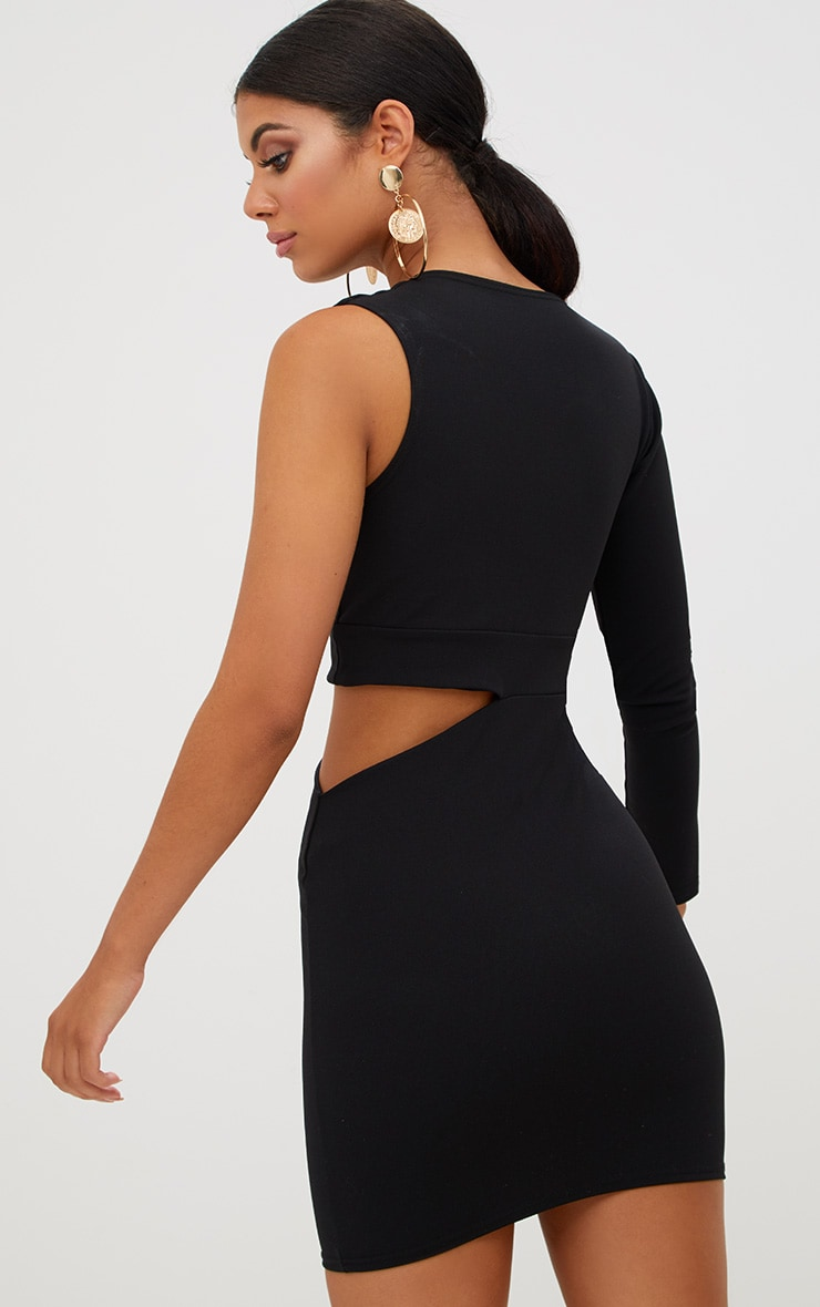 Black Cut Out Trim Detail Asymmetric Bodycon Dress 3