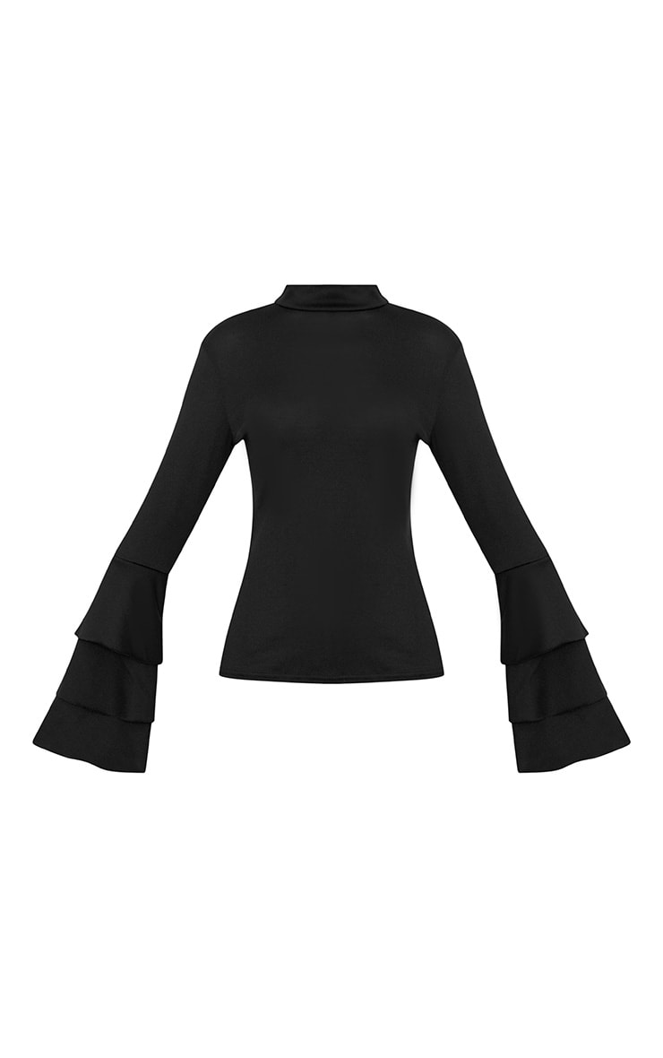 Black Knit Ruffle Sleeve Jumper 3