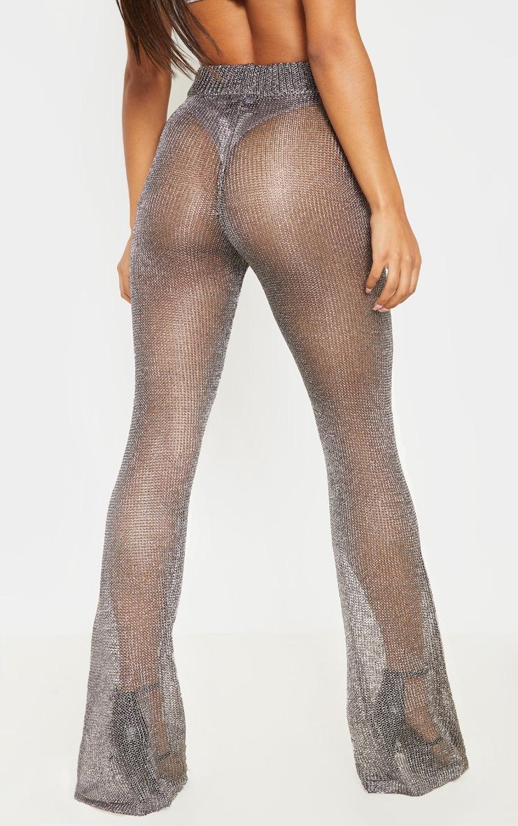 Pewter Metallic Wide Leg Flares 5