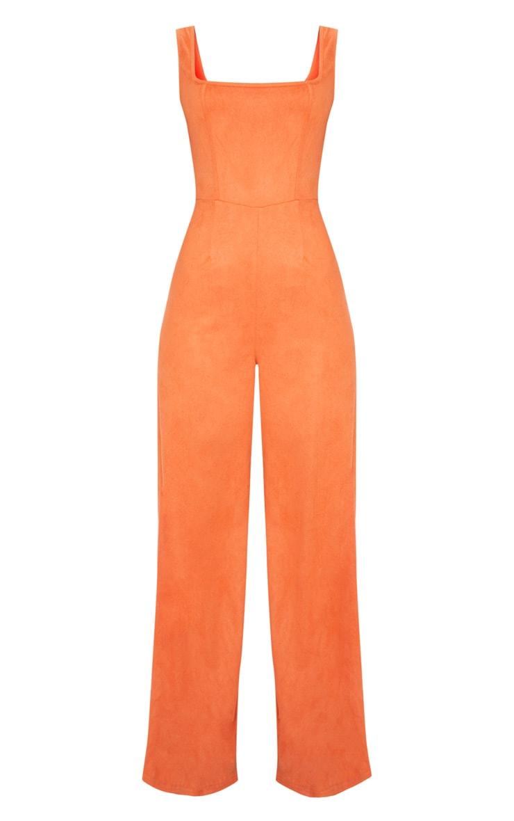 Orange Faux Suede Square Neck Wide Leg Jumpsuit 3