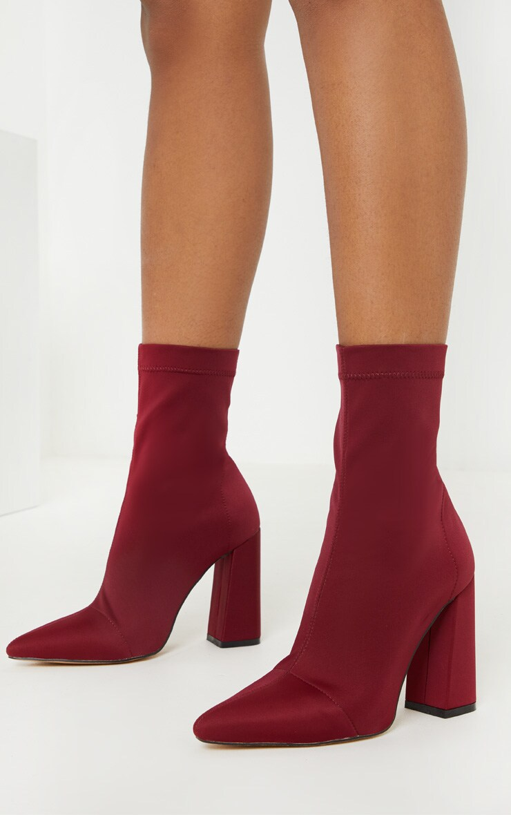 Burgundy Point Lycra Sock Boot 2