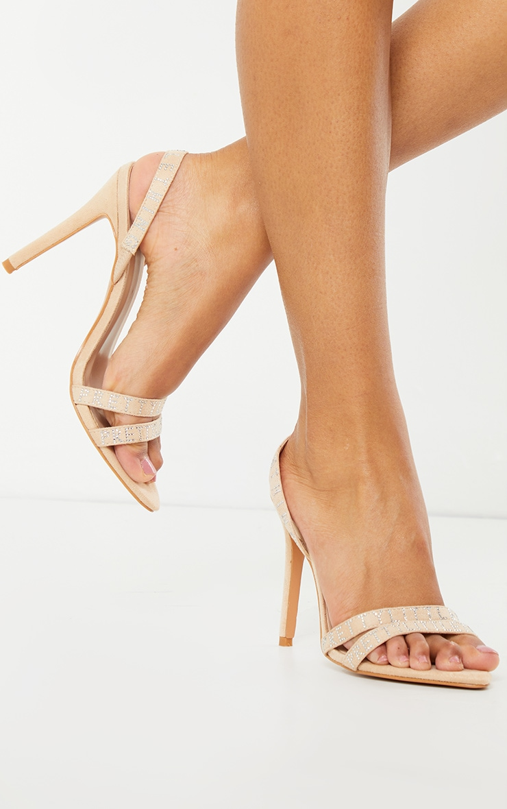 PRETTYLITTLETHING Nude Faux Suede Pointed Toe Sling Back High Heels 2