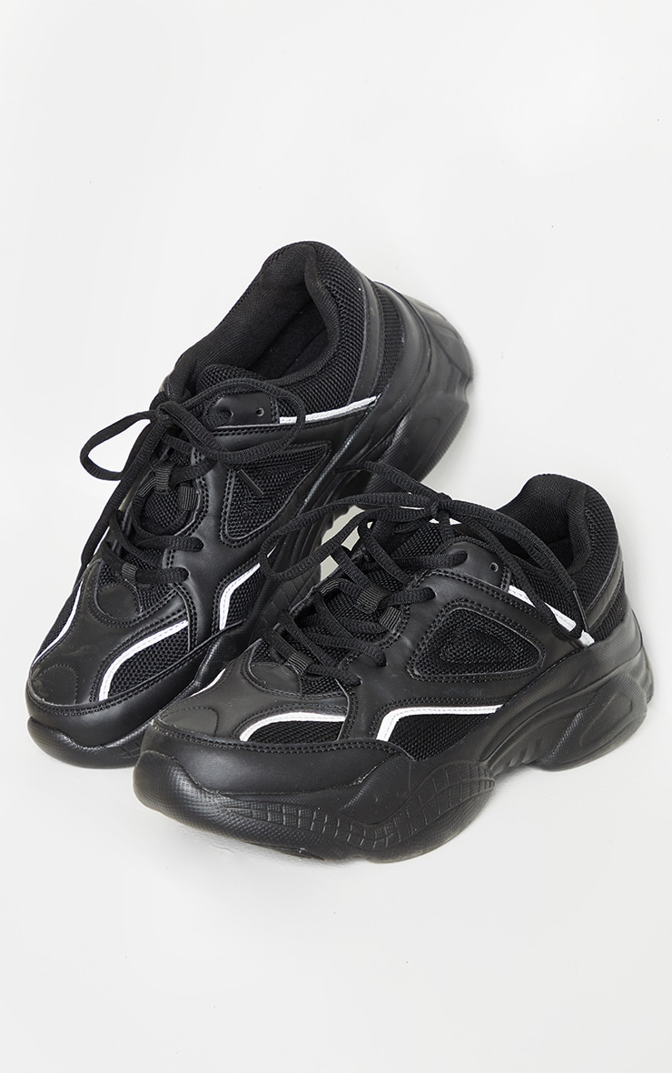 Black Reflective Panel Arch Sole Chunky Trainers 3