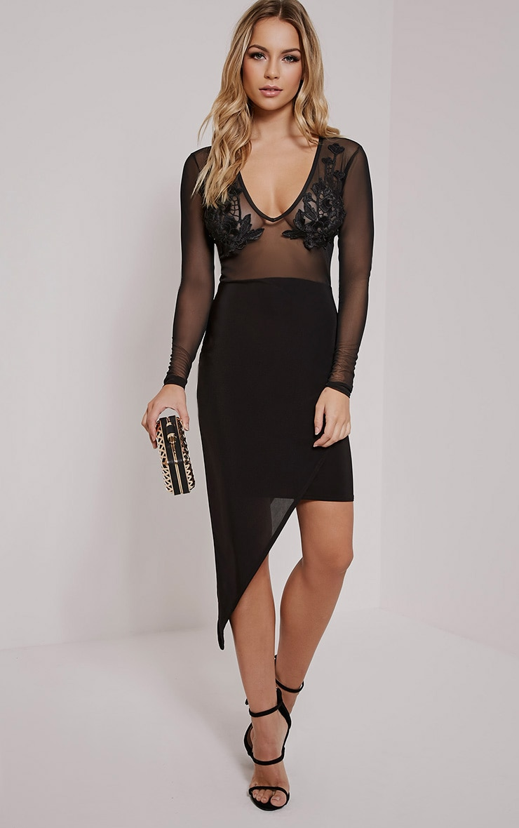 Sariyah Black Flower Applique Bodycon Dress 1