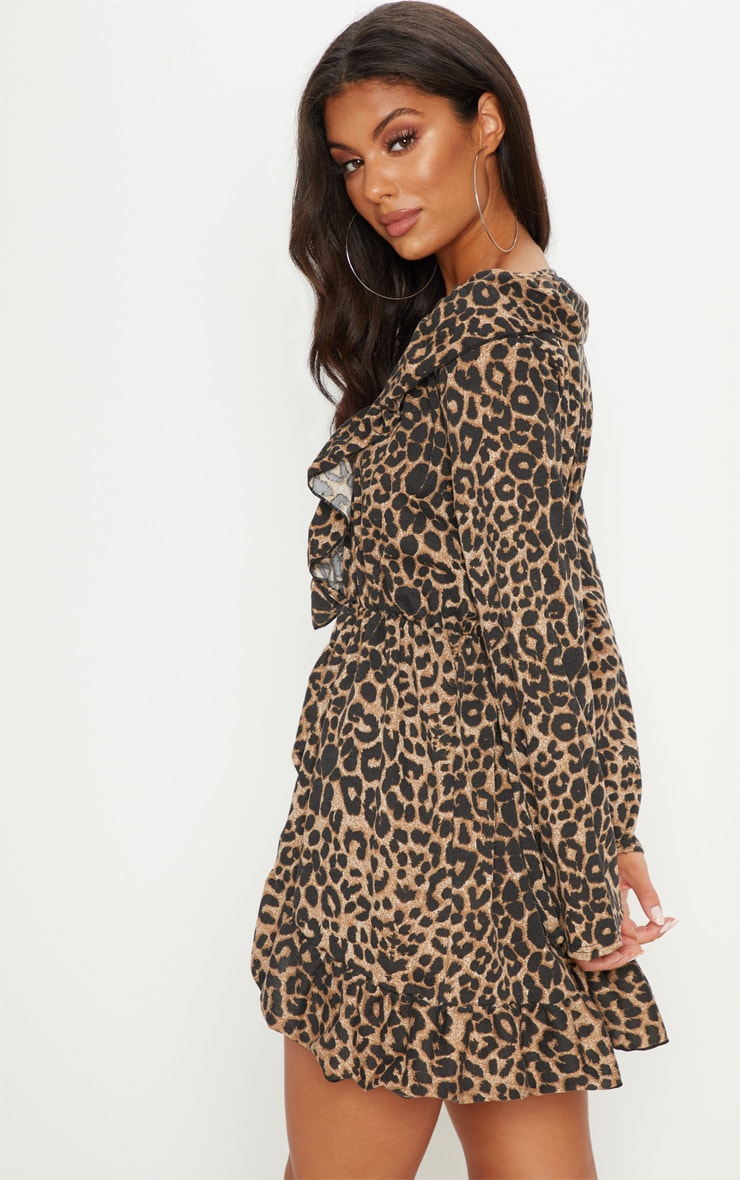 Leopard Printed Jersey Frill Detail Flare Sleeve Wrap Dress 2