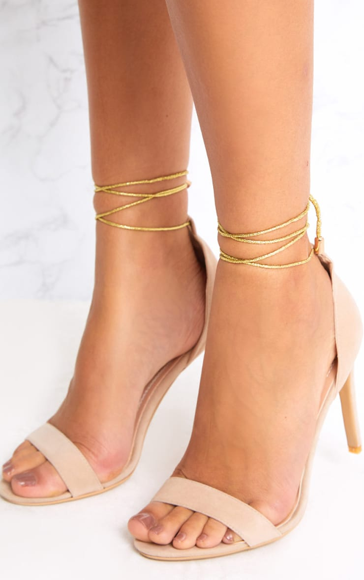 Nude Knotted Strappy Heels 2