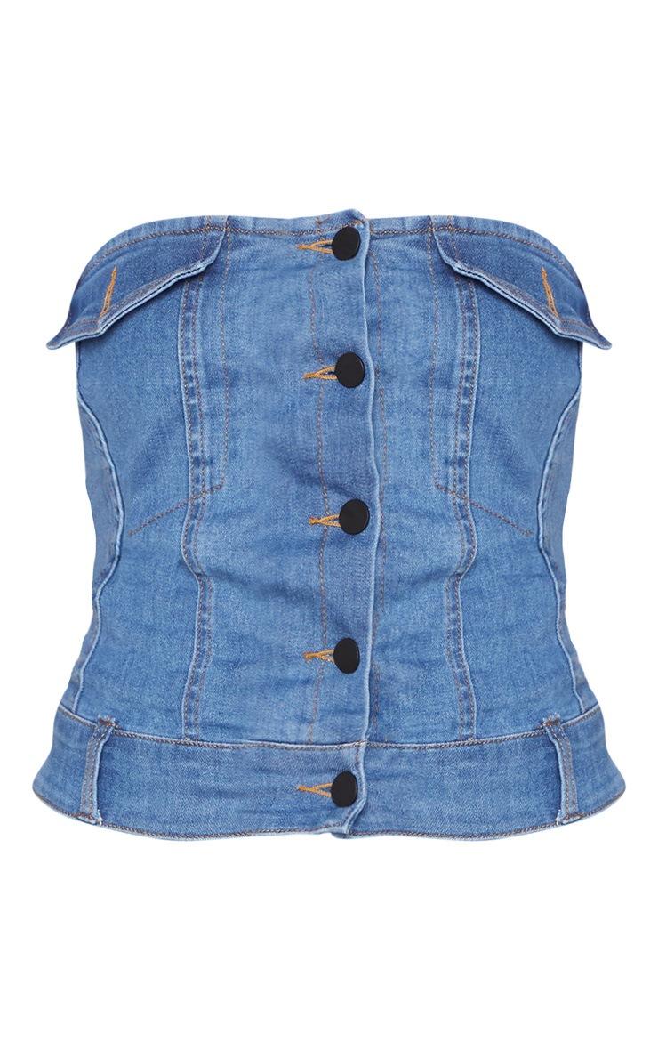 Blue Denim Button Front Bandeau 3