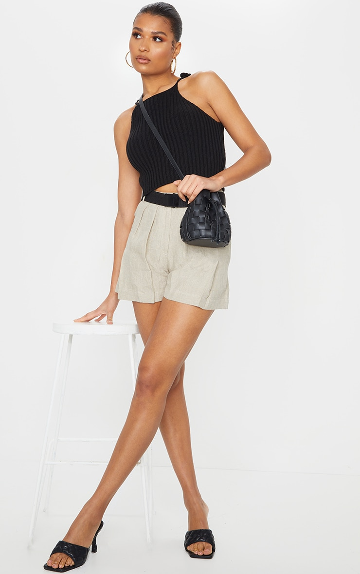 Stone Linen Feel Belted Shorts 4