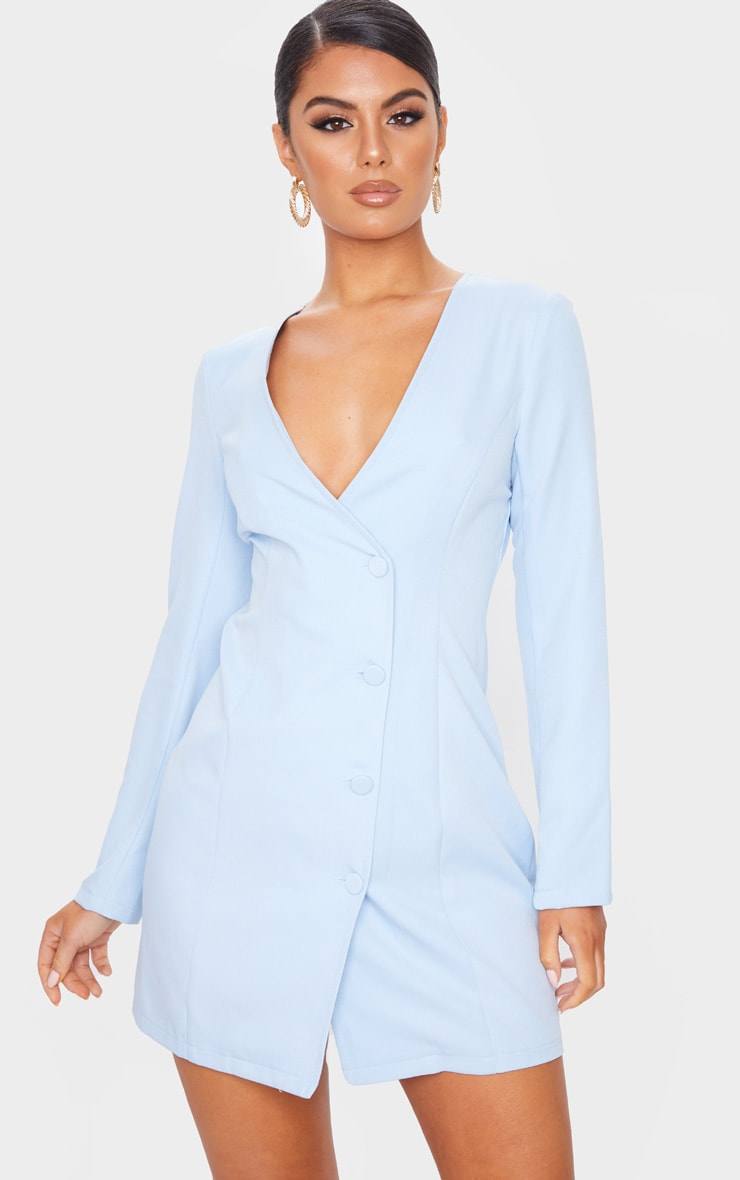 Baby Blue Long Sleeve Covered Button Blazer Dress 1