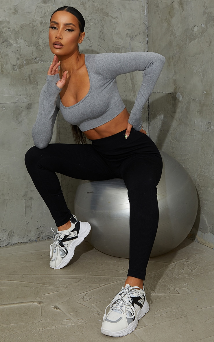 Grey Seamless Square Neck Long Sleeve Gym Top 3