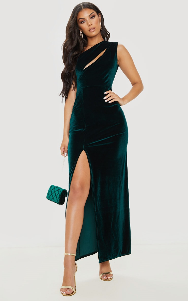 Emerald Green Velvet One Shoulder Split Leg Maxi Dress 1