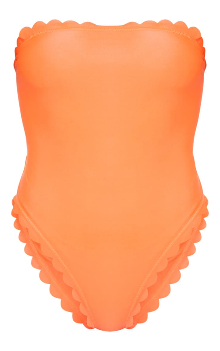 Orange Scallop High Leg Swimsuit 3