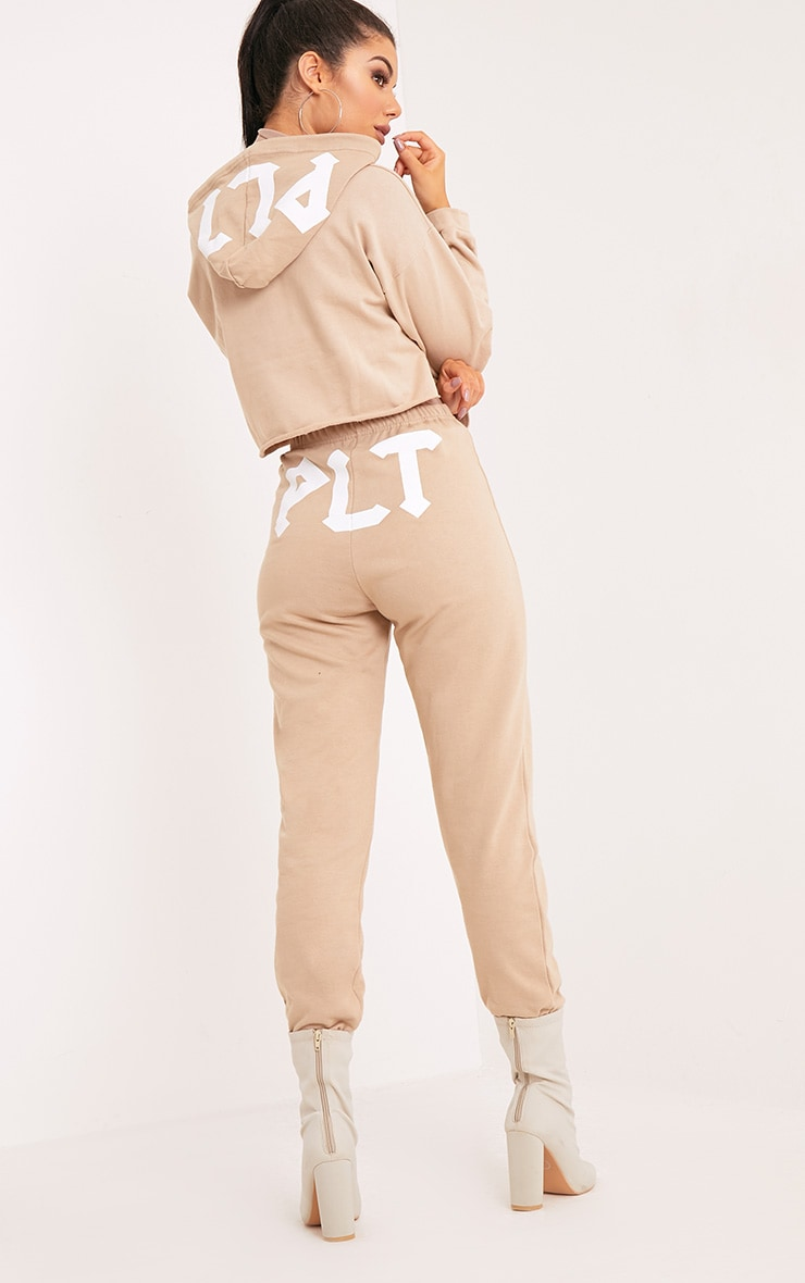 PLT Slogan Taupe Extreme Cropped Hoodie 1