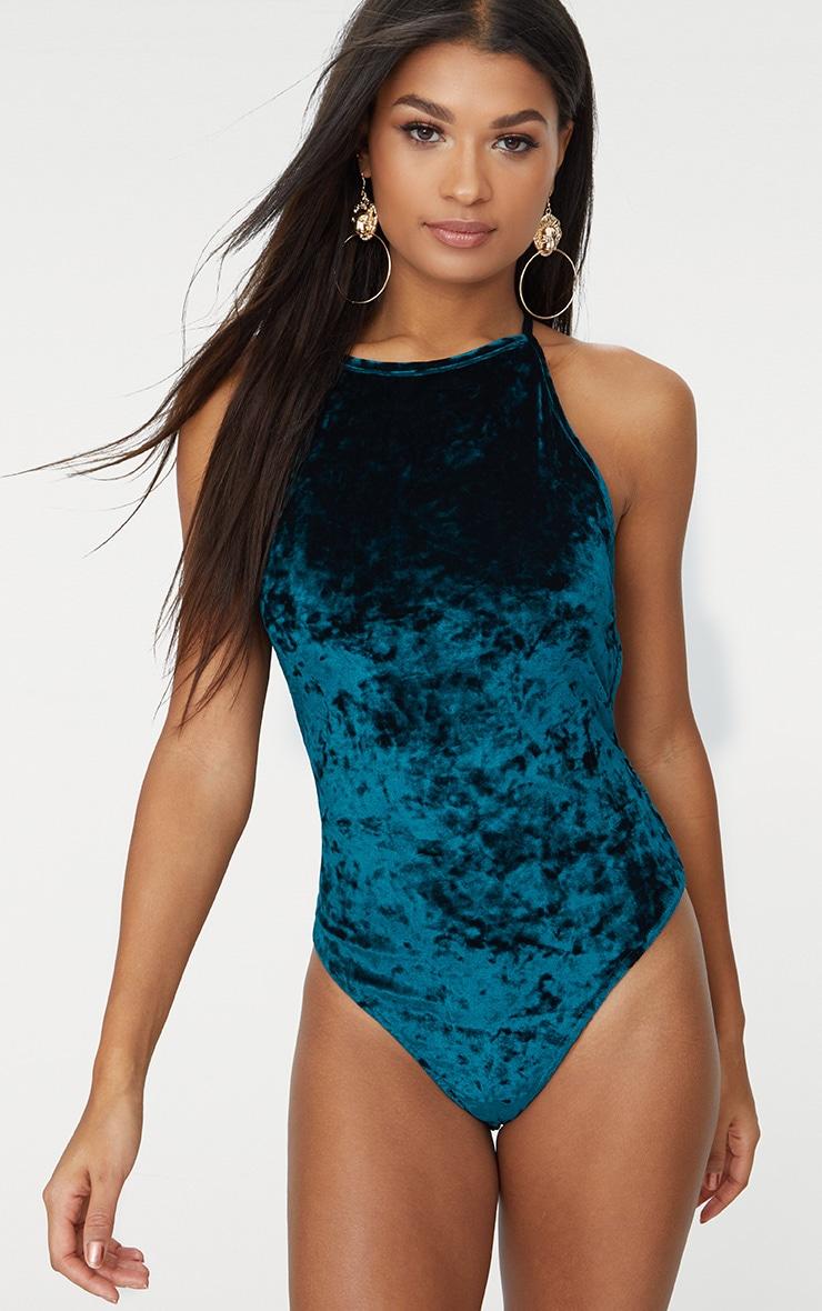 Emerald Green Crushed Velvet Open Back Thong Bodysuit 1