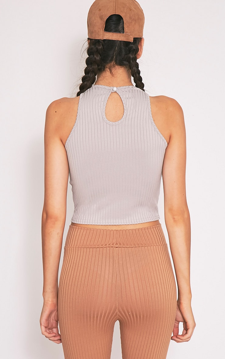 Brady Grey Jersey Rib Crop Top 2