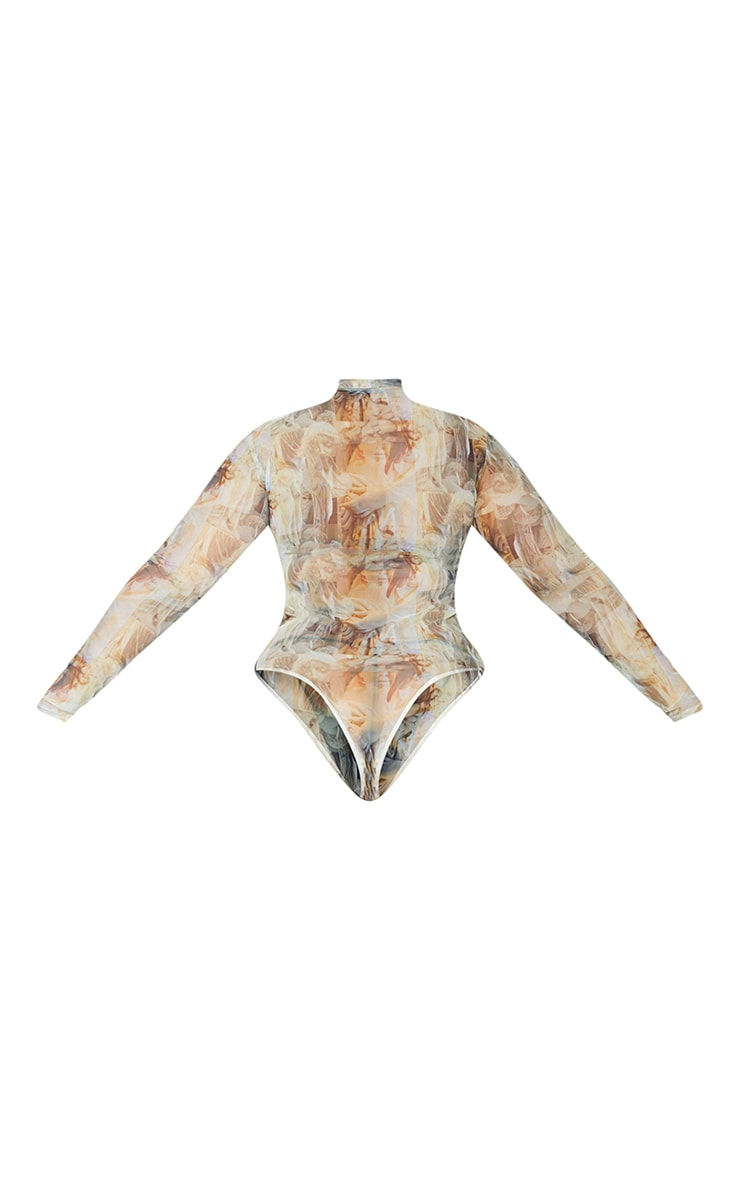 Plus Nude Statue Print High Neck Mesh Bodysuit 6