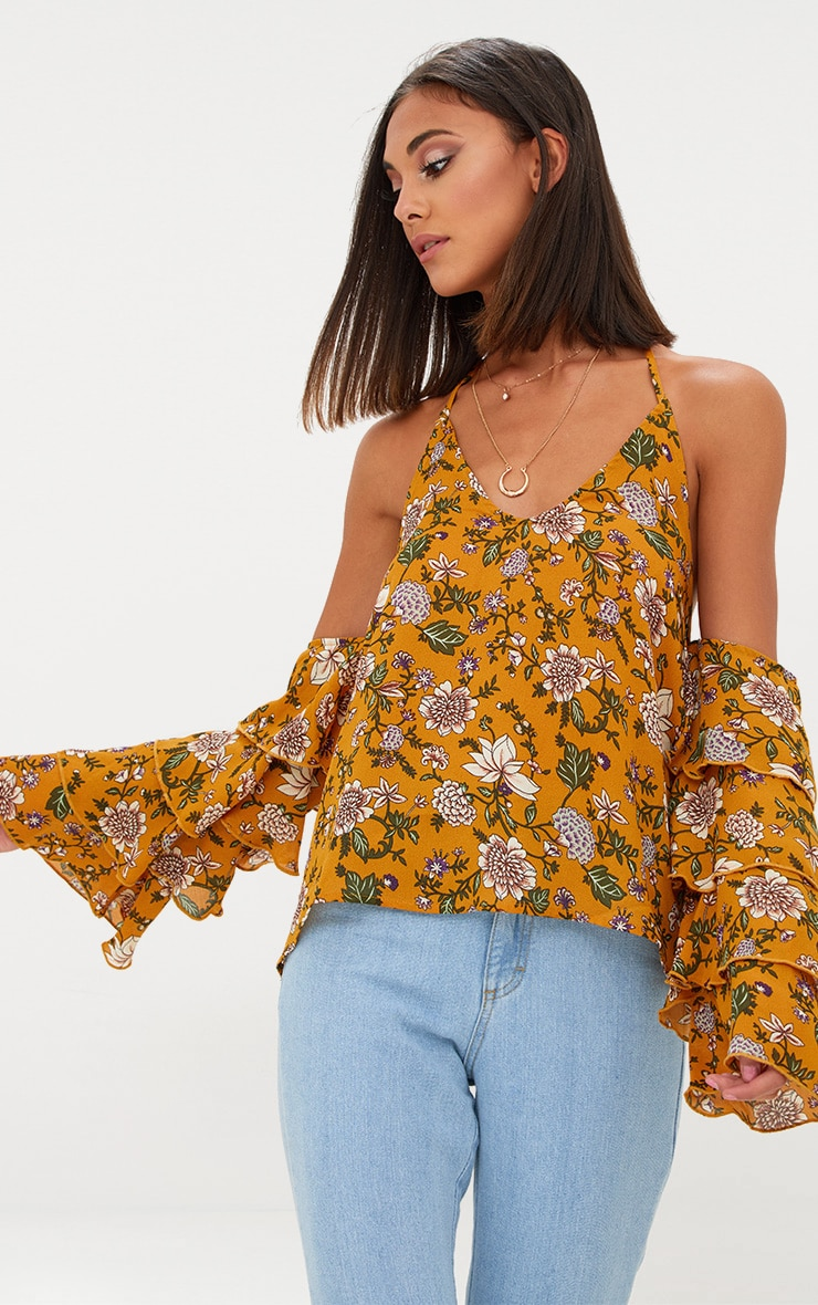 Mustard Ditsy Floral Ruffle Sleeve Halterneck Blouse 1