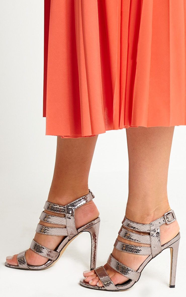 Jemimah Pewter Strappy Heeled Sandals 2