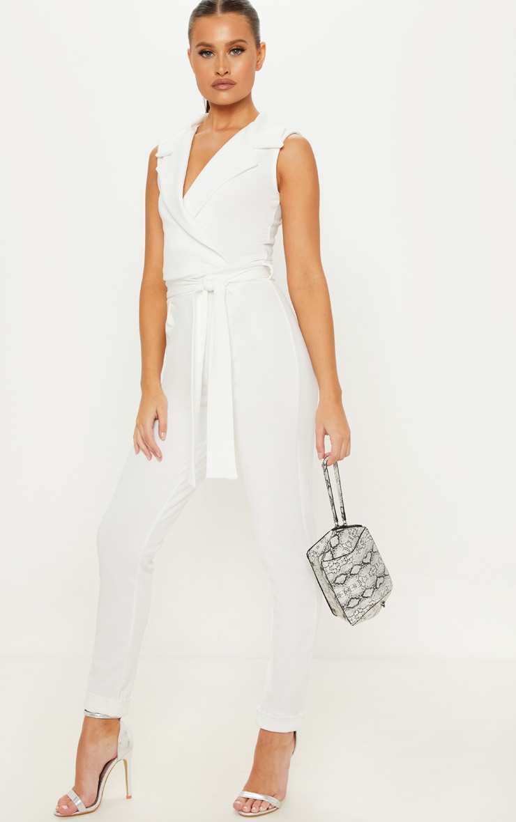 Ivory Collar Tie Front Sleeveless Jumpsuit