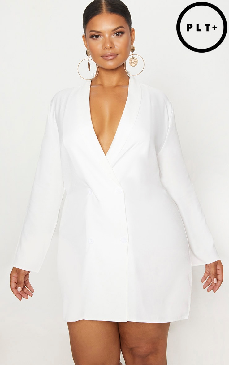 Plus White Oversized Blazer Dress 1