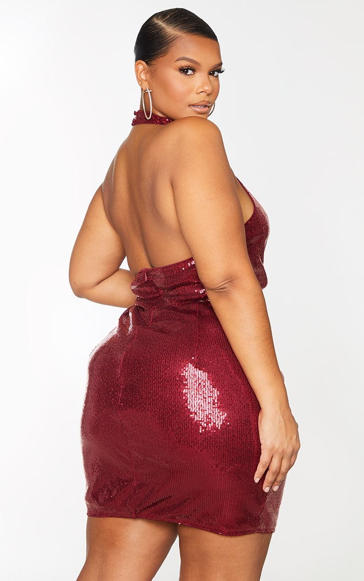 Plus Burgundy Sequin Halterneck Backless Bodycon Dress 2
