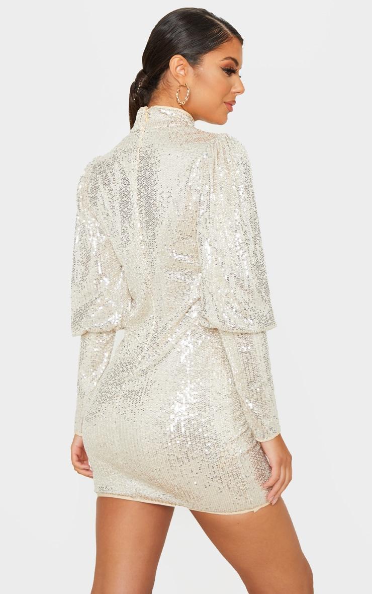 Silver Sequin Puff Sleeve Bodycon Dress 2