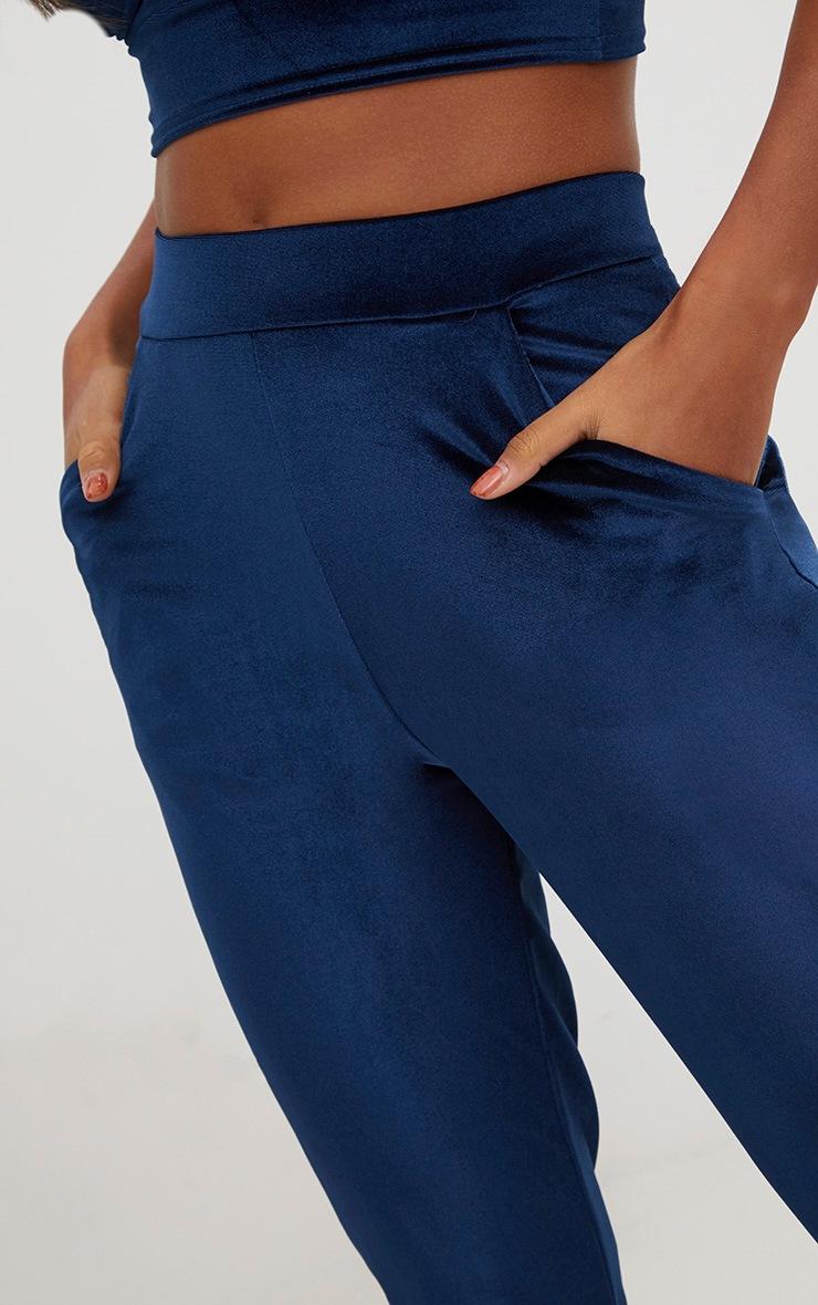 Navy Velvet Slim Leg Trousers 5