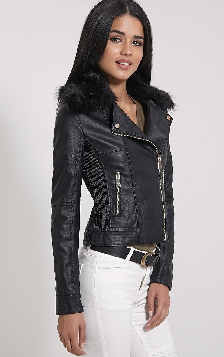 Darla Black Faux Fur Biker Jacket 4